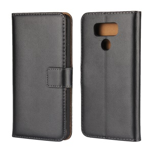For LG G6 Genuine Split Leather Wallet Protective Case with Stand - Black