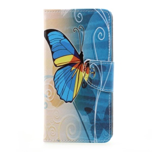 Patterned Leather Wallet Phone Case with Stand for LG K10 (2017) - Blue Butternfly