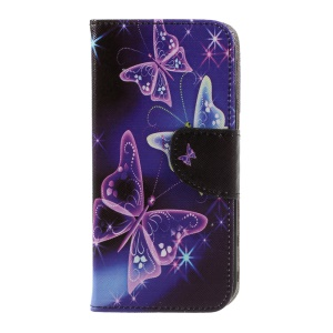 Pattern Printing Leather Wallet Stand Cover for LG K10 (2017) - Pretty Butterflies