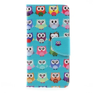Patterned Magnetic Leather Wallet Protective Case for LG K10 (2017) - Multi-color Owls