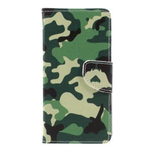 Pattern Printing Leather Wallet Case Mobile Accessory for LG K10 (2017) - Camouflage Pattern
