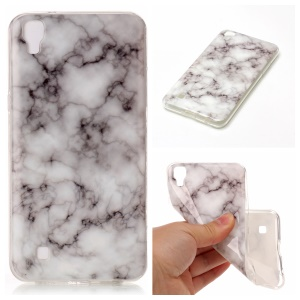 IMD Marble Pattern Soft TPU Phone Cover for LG X Power K220 K220DS - White / Grey