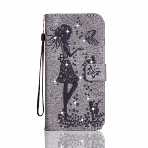 Imprinted Fairy and Butterfly Rhinestone Leather Wallet Case for LG G4 - Grey