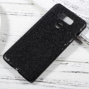 PU Leather Coated PC Case Accessory for LG G6 - Glitter Sequins / Black