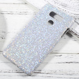 Leather Coated PC Hard Protector Case for LG G6 - Glitter Sequins / Silver