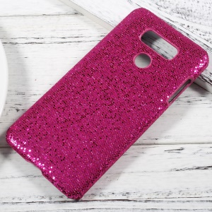 Leather Coated PC Protective Cell Phone Case for LG G6 - Glitter Sequins / Rose