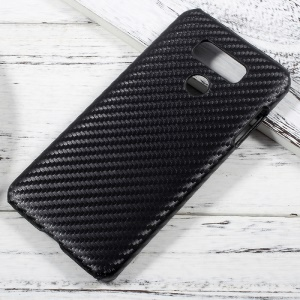 Leather Coated Plastic Hard Case for LG G6 - Carbon Fiber Texture / Black