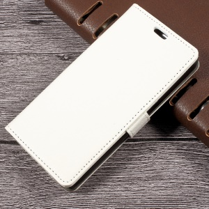 Litchi Skin Card Holder Leather Stand Cover for LG K4 (2017) EU Version - White