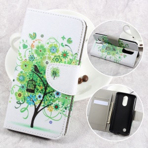 For LG Aristo LV3 MS210 / K8 2017 M200N Patterned PU Leather Card Slots Case - Green Flowers Tree and Bird