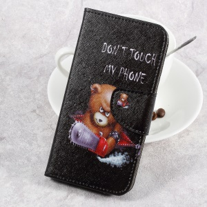 For LG Aristo LV3 MS210 / K8 2017 M200N Patterned PU Leather Card Slots Case - Angry Bear and Warning Words