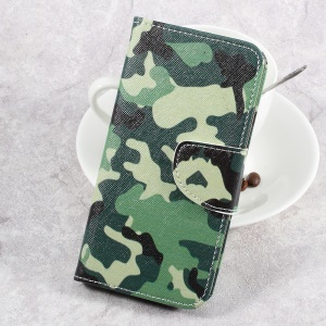 For LG Aristo LV3 MS210 / K8 2017 M200N Patterned PU Leather Card Slots Case - Camouflage Pattern