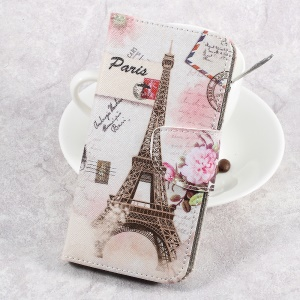 For LG Aristo LV3 MS210 / K8 2017 M200N Patterned PU Leather Card Slots Case - Postcard Style Eiffel Tower