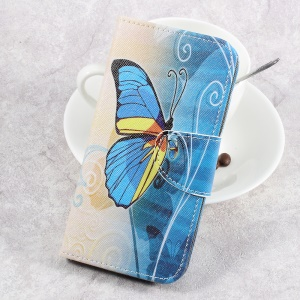 For LG Aristo LV3 MS210 / K8 2017 M200N Patterned PU Leather Card Slots Case - Beautiful Butterfly