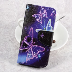 For LG Aristo LV3 MS210 / K8 2017 M200N Patterned PU Leather Card Slots Case - Shiny Butterflies
