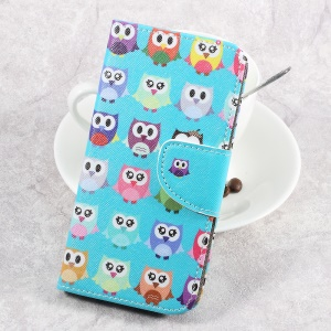 For LG Aristo LV3 MS210 / K8 2017 M200N Patterned PU Leather Card Slots Case - Adorable Owls