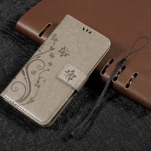 For LG K8 Imprinted Butterfly Flower Wallet Leather Case Cover Stand - Grey