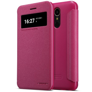NILLKIN Sparkle Series Wake Sleep Smart View Leather Shell for LG K10 (2017) - Rose