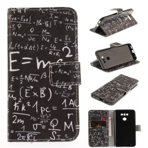 Pattern Printing Leather Wallet Case for LG G6 - Mathematical Symbol