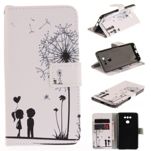 Pattern Printing Leather Wallet Cover for LG G6 - Dandelion and Lovers