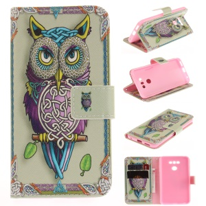 Pattern Printing Leather Wallet Cover Case for LG G6 - Colorized Owl