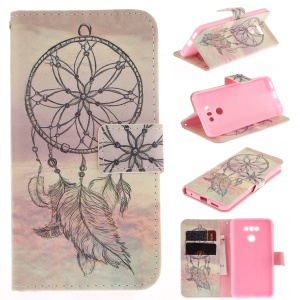 Pattern Printing PU Leather Wallet Case for LG G6 - Feather Dream Catcher