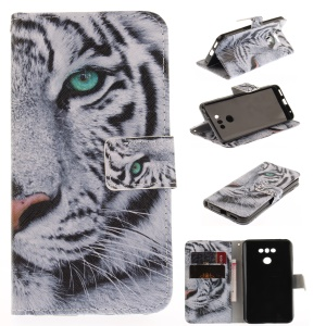 Pattern Printing Magnetic Leather Wallet Case for LG G6 - Tiger Pattern
