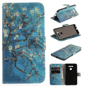 Pattern Printing Magnetic Leather Stand Case for LG G6 - Tree with Flowers
