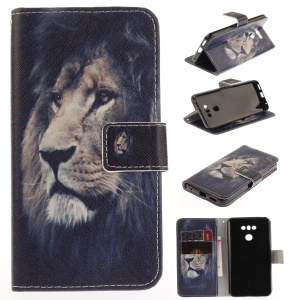 Pattern Printing Magnetic Leather Stand Cover for LG G6 - Lion Pattern