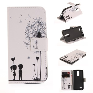 Pattern Printing Wallet Leather Stand Cover for LG K4 (2017) - Dandelion and Lovers