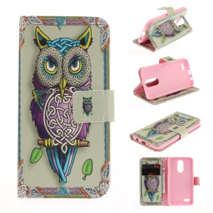 Pattern Printing Phone Leather Stand Case for LG K4 (2017) - Colorized Owl