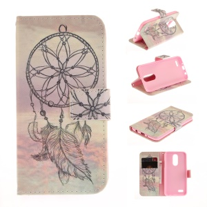 Pattern Printing Wallet Leather Folio Case for LG K4 (2017) - Feather Dream Catcher