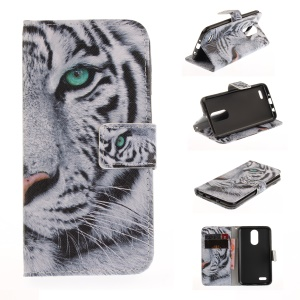 Pattern Printing Leather Stand Case with Card Slots for LG K4 (2017) - Tiger Pattern