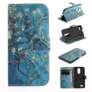 Pattern Printing Leather Stand Cover with Card Slots for LG K4 (2017) - Tree with Flowers