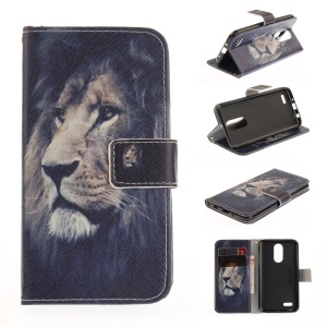 Pattern Printing Wallet Leather Magnetic Case for LG K4 (2017) - Lion Pattern