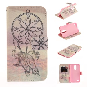 Pattern Printing Leather Wallet Case for LG K10 (2017) - Feather Dream Catcher