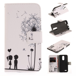 Pattern Printing Leather Wallet Case Cover for LG K10 (2017) - Dandelion and Lovers