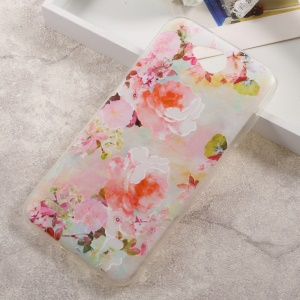 Embossed Pattern TPU Back Phone Case for LG X Power 2 - Blooming Flowers