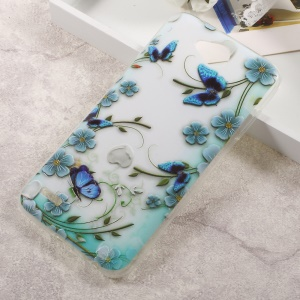 Embossing TPU Mobile Casing Cover for LG X Power 2 - Butterflies and Flowers
