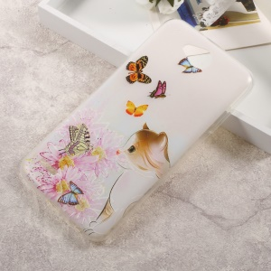 Patterned TPU Embossed Shell Case for LG X Power 2 - Cute Cat, Flowers and Butterflies