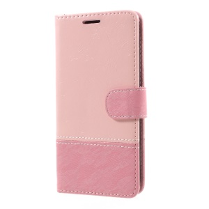 Contrast Color Leather Mobile Shell with Card Slots for LG K4 (2017) EU Version - Pink