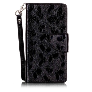 Laser 3D Colorido Carving Butterfly Wallet Leather Stand Case para LG X Style - Black