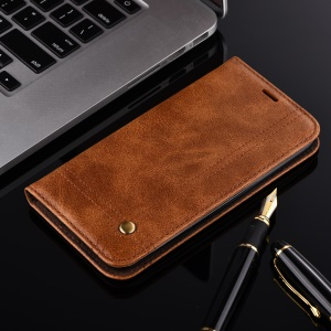 rétro style auto-Housse mobile en cuir Wallet pour LG K10(2017) US version - marron
