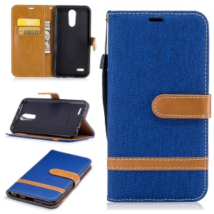 Dois tons Jean Cloth PU Leather Wallet Flip Stand Cellphone Cover para LG K10 (2017) EU Version - Baby Blue