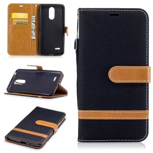 For LG K4 (2017) EU Version Jean Cloth Texture Leather Stand Card Slots Phone Shell - Black