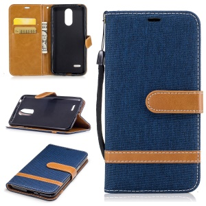 Jean Cloth Texture Leather Card Slots Phone Shell for LG K4 (2017) EU Version - Purple