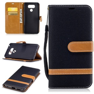 Two-tone Jean Cloth PU Leather Wallet Phone Case with Stand for LG G6 - Black