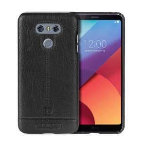 PIERRE CARDIN PCL-P03 Stitched Genuine Leather Coated Hard PC Case for LG G6 - Black