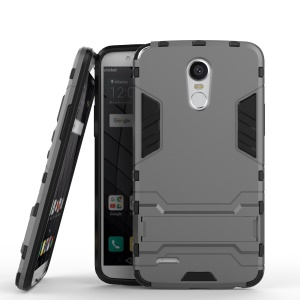 For LG Stylus 3 Cool Guard Plastic TPU Back Cover with Kickstand - Grey