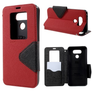 ROAR KOREA View Window Leather Case with Card Slot for LG G6 - Red