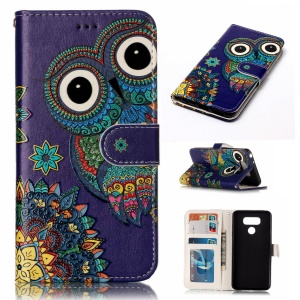 Pattern Printing Embossed Leather Protective Phone Shell for LG G6 - Owl
